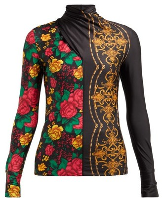 Toga Floral Print Crossover High Neck Top - Womens - Black Print