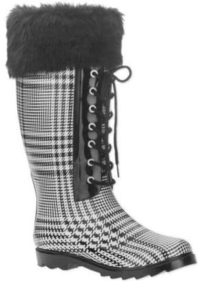 7621783420 FOREVER YOUNG Forever Young Women s Faux Fur Lace-up Checkered Tall Rain  Boot