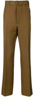 Prada belted straight leg trousers