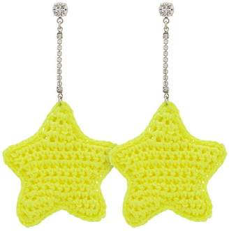 Venessa Arizaga neon yellow woven star and crystal embellished earrings