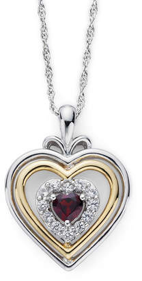 JCPenney FINE JEWELRY Garnet & Lab-Created White Sapphire Two-Tone Heart Pendant Necklace