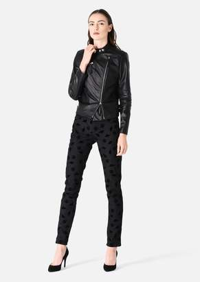 Emporio Armani Biker Jacket In Leather And Stretch Fabric