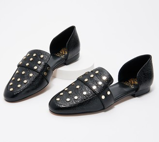 Vince Camuto Leather Two-Piece Studded Flats - Wenerly