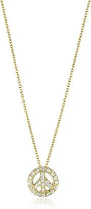 Roberto Coin Tiny Treasures Diamond Baby Peace Sign Gold Pendant Necklace