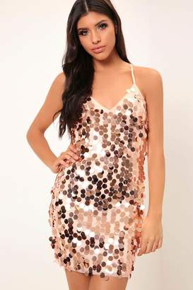 2ee552c634e6e I SAW IT FIRST Rose Gold Giant Sequin Strappy Dress