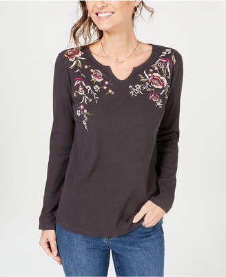 Style&Co. Style & Co Petite Cotton Embroidered Split-Neck Top