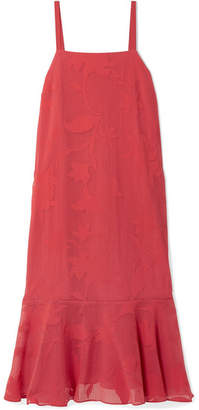 Hatch Paola Ruffled Burnout-voile Midi Dress - Brick