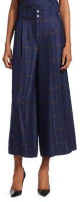 Piazza Sempione Wide-Leg Windowpane Check Culottes