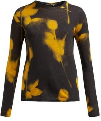 Proenza Schouler Floral Spray Paint Print Cotton Top - Womens - Yellow Multi
