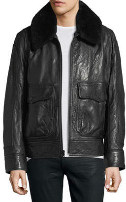 Andrew Marc The 3416 Lambskin Leather Aviator Jacket with Shearling Collar