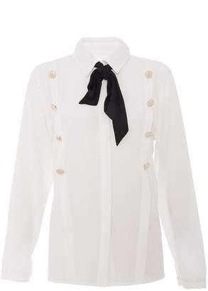 Quiz Cream Tie Neck Button Detail Top