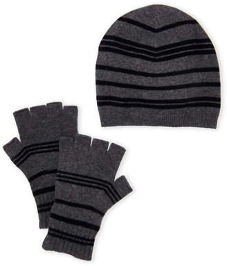 Qi Black & Charcoal Striped Cashmere Beanie & Fingerless Gloves Set