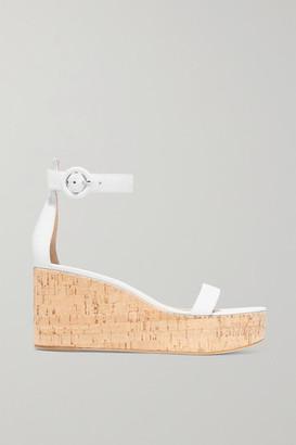 Gianvito Rossi Portofino 45 Leather Wedge Sandals - White