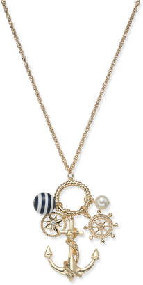 "Charter Club Gold-Tone Crystal & Bead Nautical Charm Pendant Necklace, 18"" + 2"" extender"
