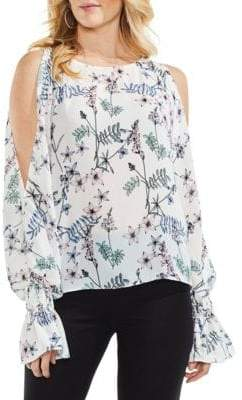 Vince Camuto Flared-Cuff Cold-Shoulder Blouse