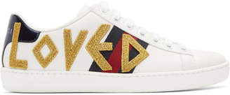 Gucci White Embroidered Loved New Ace Sneakers