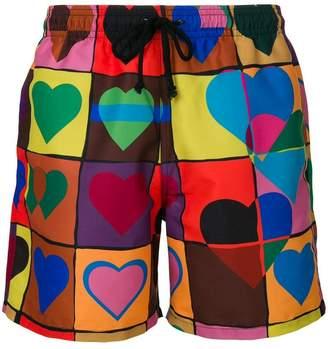 J.W.Anderson heart grid swim trunks