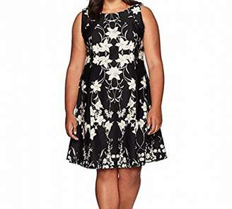 Gabby Skye Women's Plus Size Full Figured Sleeveless 2fer Fit and Flare Dress with Floral Skirt