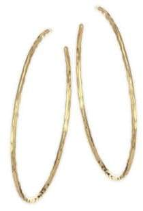 Nest Hammered Gold Plated Hoop Earrings