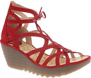 Fly London Leather Lace-Up Wedges Sandals -Yuke