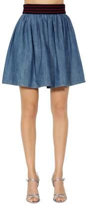 Miu Miu Cotton Denim Skirt W/ Elastic Waistband