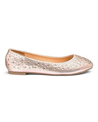 a2f96898d58 Simply Be Brandy Studded Ballerina Wide fit