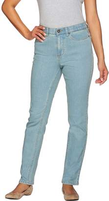 "Denim & Co. How Slimming"" Petite Denim Straight Leg Jeans"