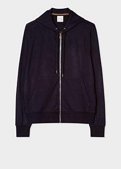 Paul Smith Men's Dark Navy Zip-Front Wool Hoodie With 'Artist Stripe' Trim