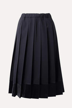 9facaba83e Comme des Garcons Pleated Velvet-trimmed Wool Midi Skirt - Midnight blue
