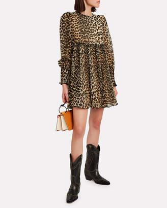Ganni Pleated Georgette Leopard Mini Dress