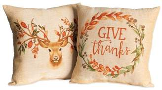 """Mainstays Give Thanks Deer Decorative Throw Pillow, 17"""" x 17"""", 2 Pack, Harvest"""