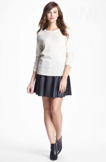 Vince Camuto Perforated Faux Leather Skater Miniskirt