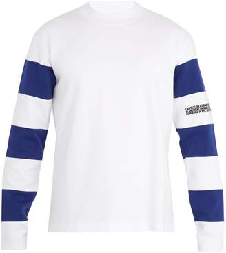Calvin Klein Bi-colour striped-sleeve cotton-jersey sweatshirt