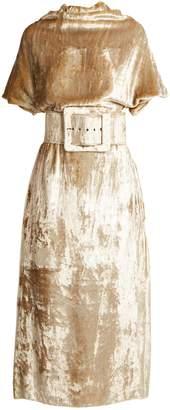 Maison Margiela Belted high-neck velvet dress