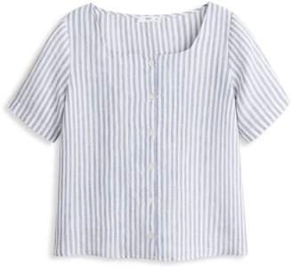 MANGO Olivia Striped Linen Blouse
