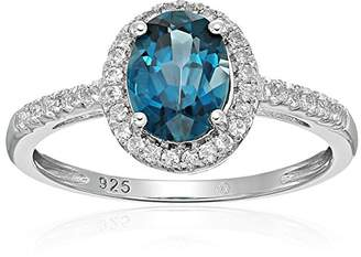 Sterling Silver Oval London Topaz and White Topaz Halo Engagement Ring