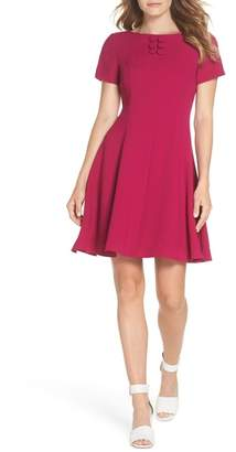 Eliza J Button Yoke Fit & Flare Dress (Regular & Petite)