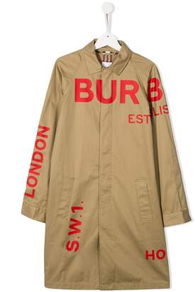 Burberry TEEN Horseferry print gabardine coat