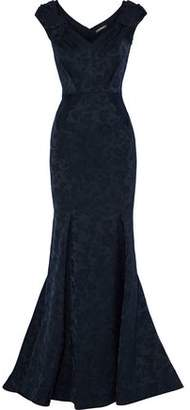 Zac Posen Fluted Satin-Jacquard Gown