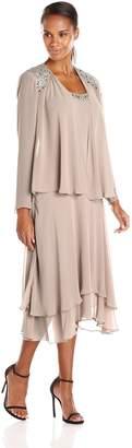 SL Fashions Women's Embellished Shoulder and Neck Jacket Dress