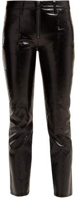 Frame Patent Leather Cropped Trousers - Womens - Black