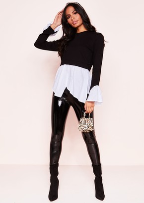 cd137c2d26905 Missy Empire Missyempire Jessie Black Layered Look Jumper Shirt