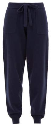 Allude Drawstring Waist Wool Blend Knitted Track Pants - Womens - Navy