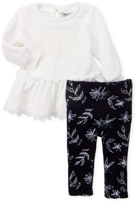 Calvin Klein Jeans Newborn Girls) Two-Piece French Terry Tunic & Printed Legging Set