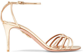 Aquazzura First Kiss Metallic Leather Sandals - Gold