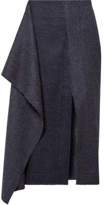 Cédric Charlier Draped Herringbone Wool And Cashmere-blend Midi Skirt - Midnight blue