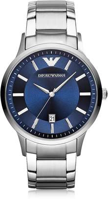 Emporio Armani Silver Tone Stainless Steel Men's Watch w/Blue Dial