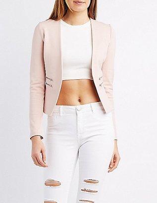 Zipper-Trim Collarless Blazer $34.99 thestylecure.com