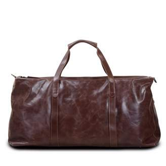 EAZO - Large Leather Duffel Bag in Dark Brown