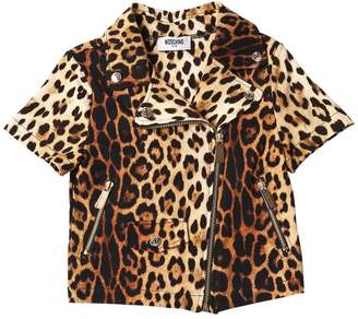 Moschino Leopard Print Cotton Sweatshirt Jacket